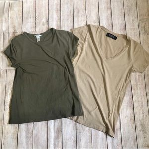 2 x Basic Tees / T-Shirts - Zara & H&M